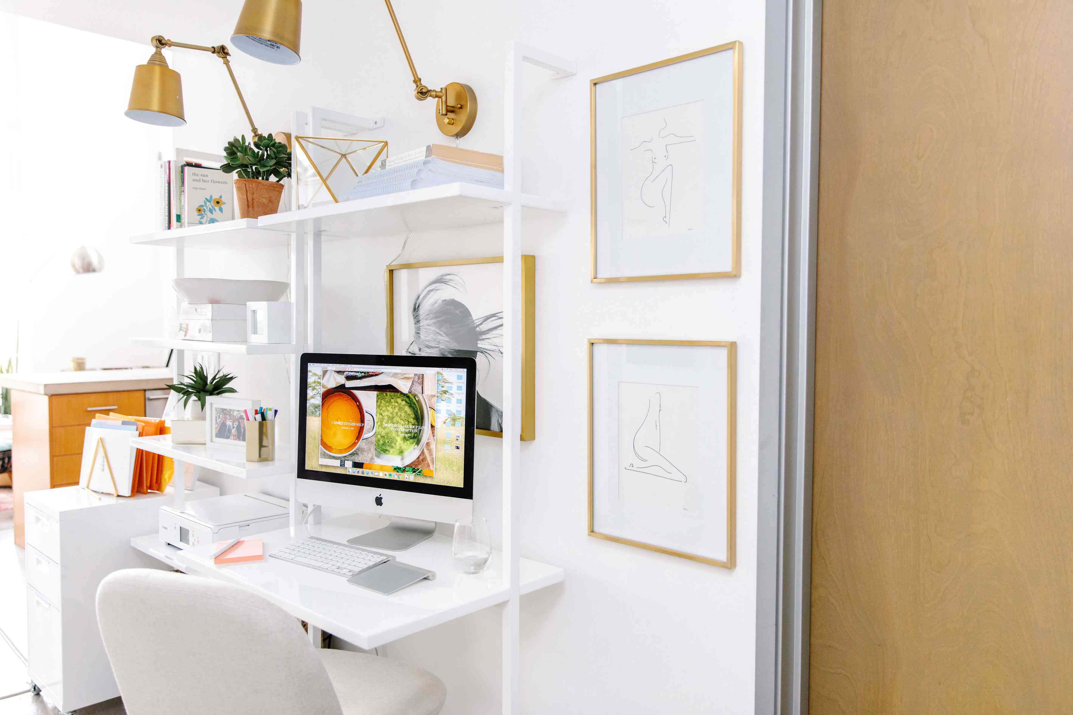Bright white office space.