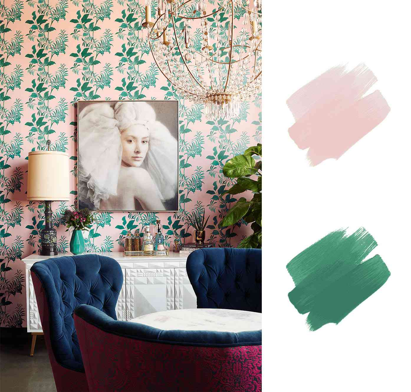 best interior color schemes - pink and green