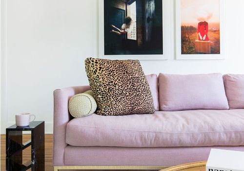 Pink sofa with leopard pillow.