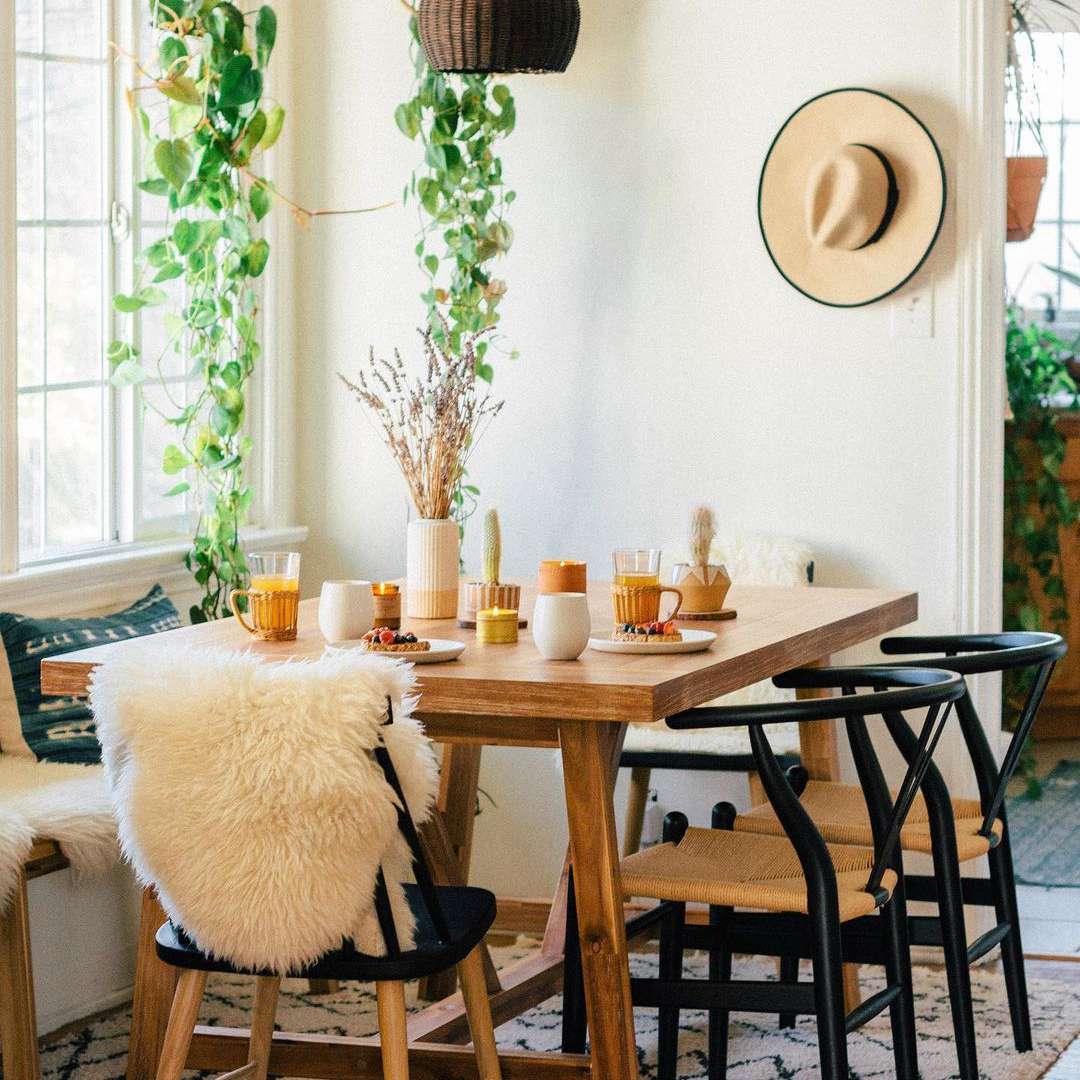 White boho dining room