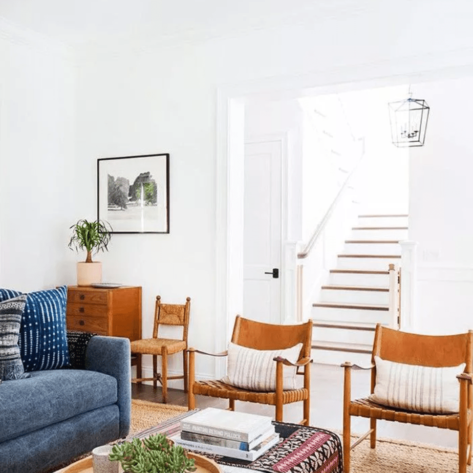 Repurposed vintage and existing furniture in small living room