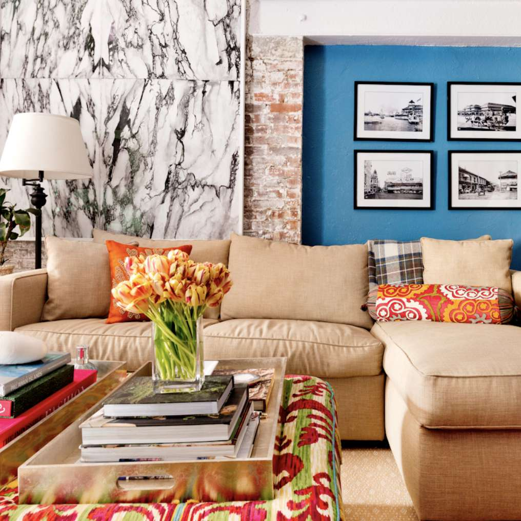whitewashed brick wall in colorful apartment