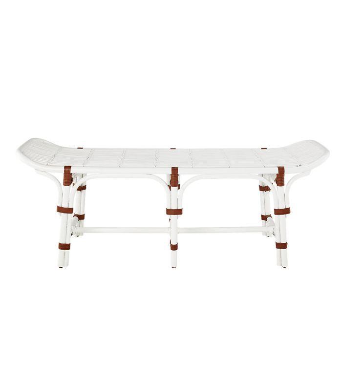 Sloane White Rattan Bench