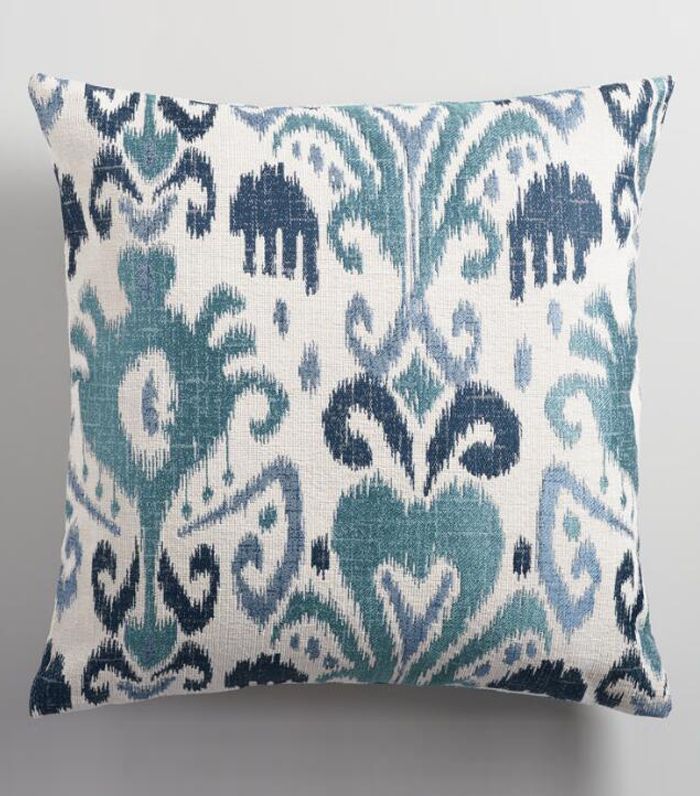 Indigo Ikat Jacquard Throw Pillow: Blue - Polyester - 20
