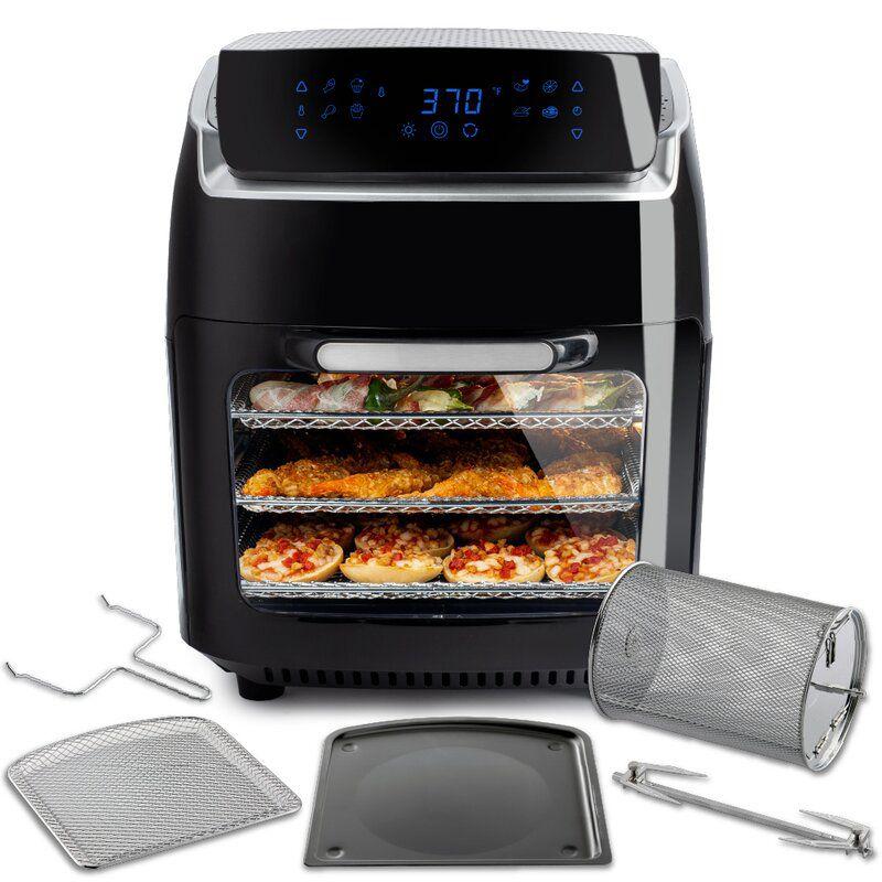 Black Modernhome 9.4 Liter Air Fryer Oven With Rotating Rotisserie