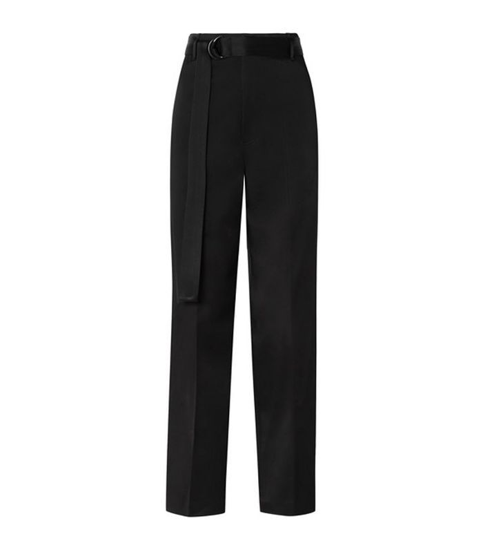 Belted Satin Wide-leg Pants