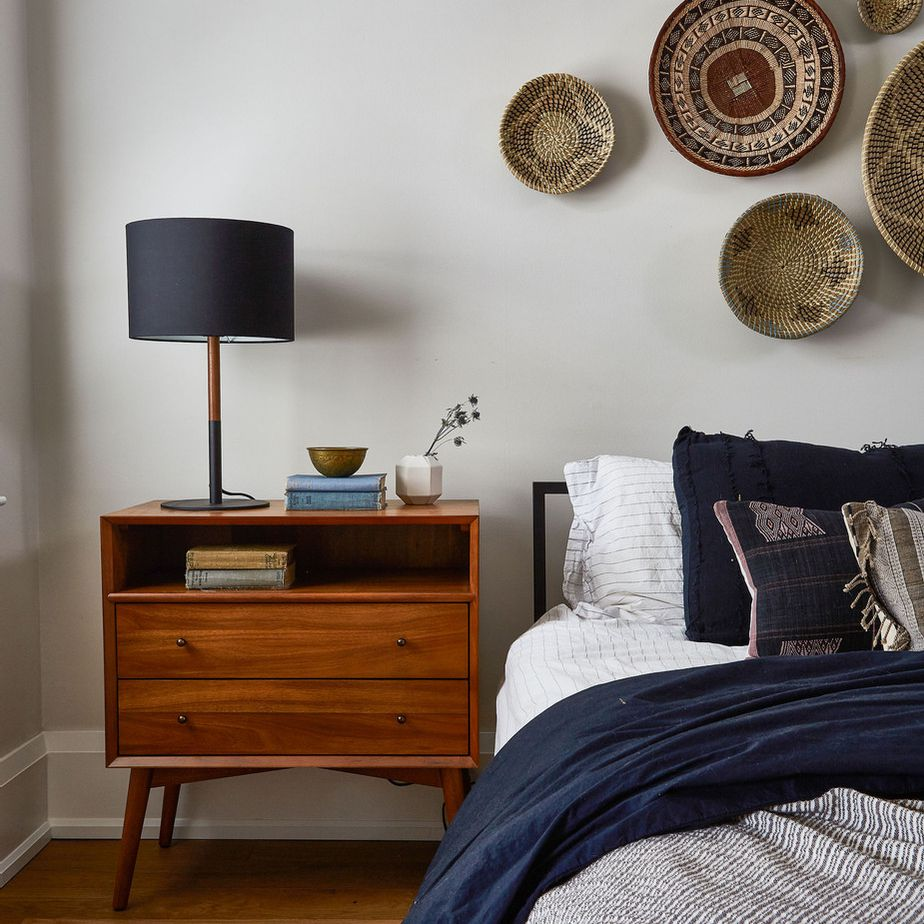 Navy and gray bedroom with linen bedding