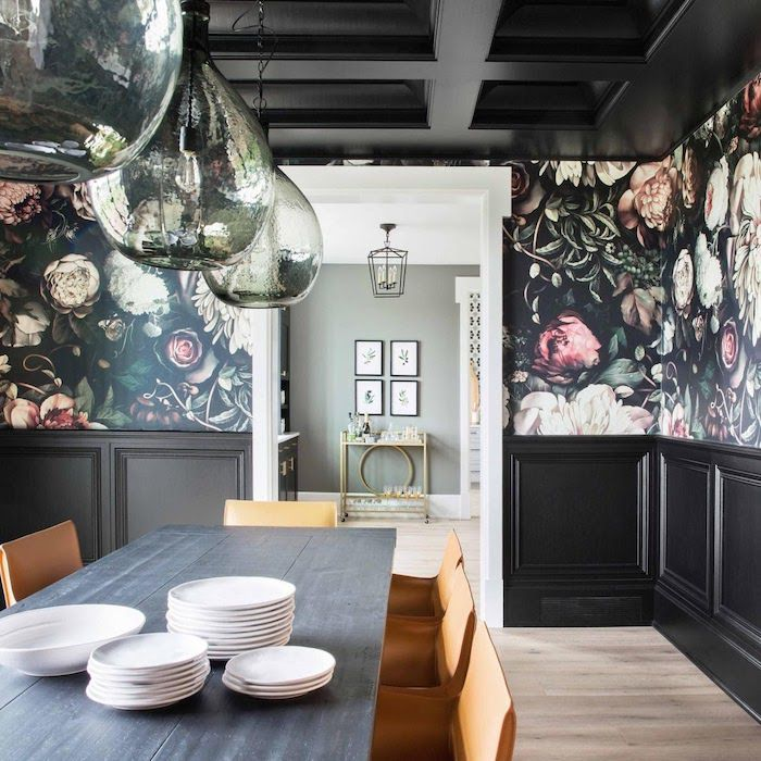 Dining room with black ceiling