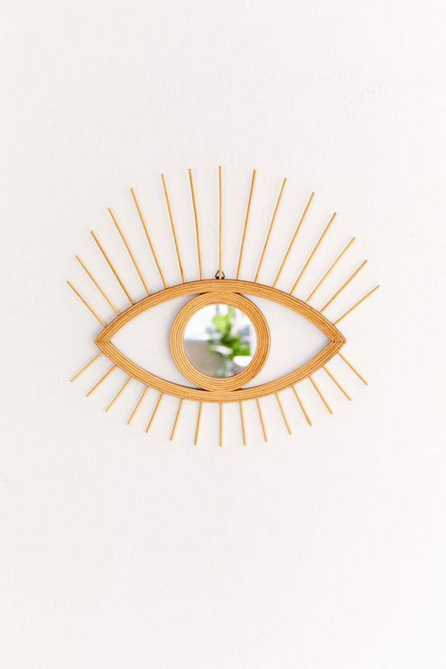 rattan eye mirror
