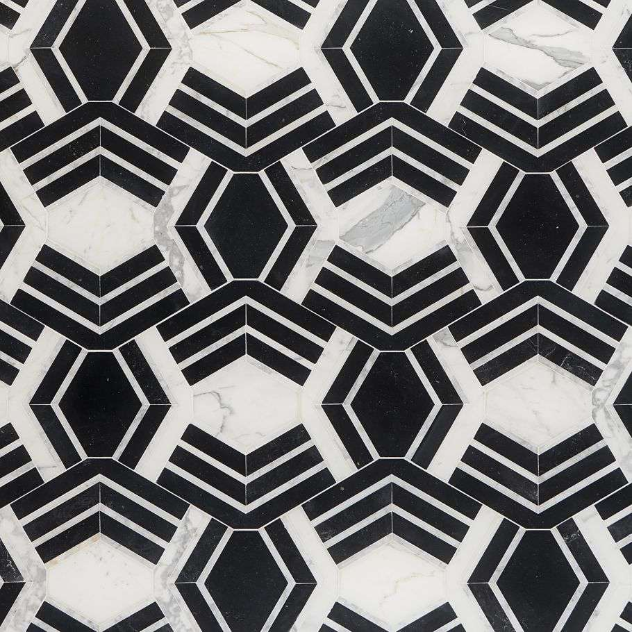 Black and white geometric kitchen tiles you can buy at TileBar