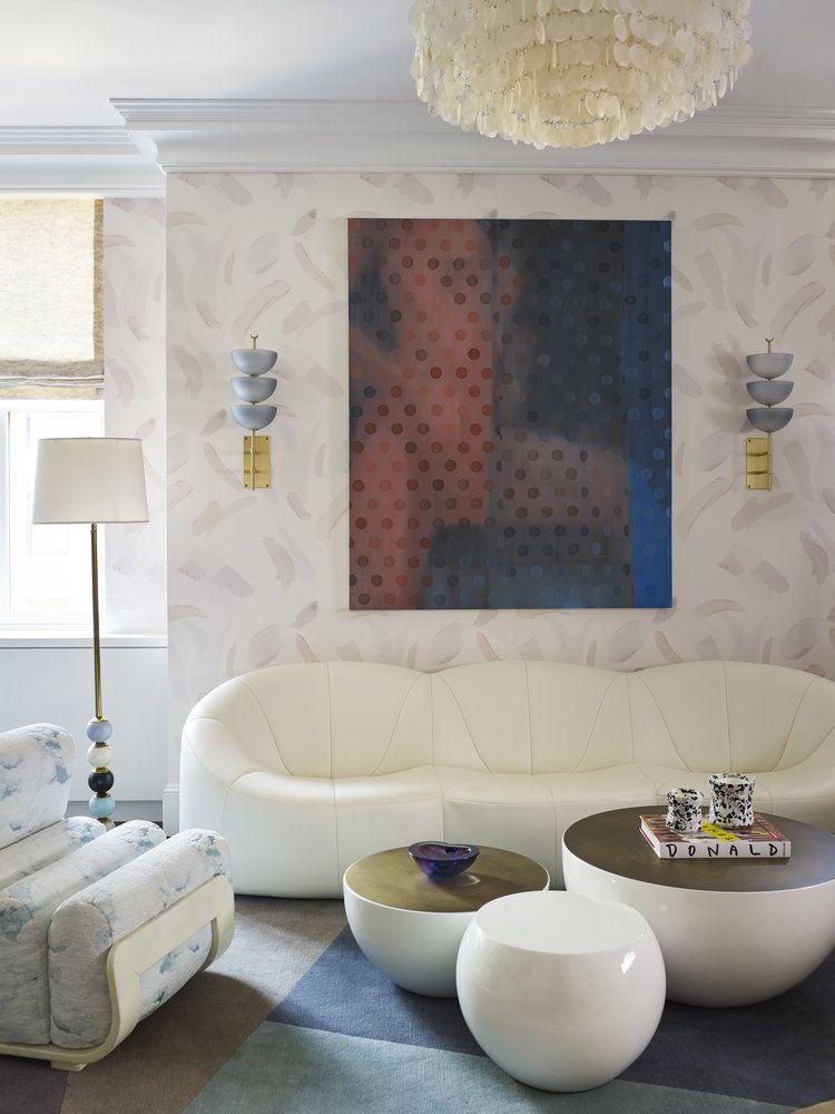 wallpapered living room in New York