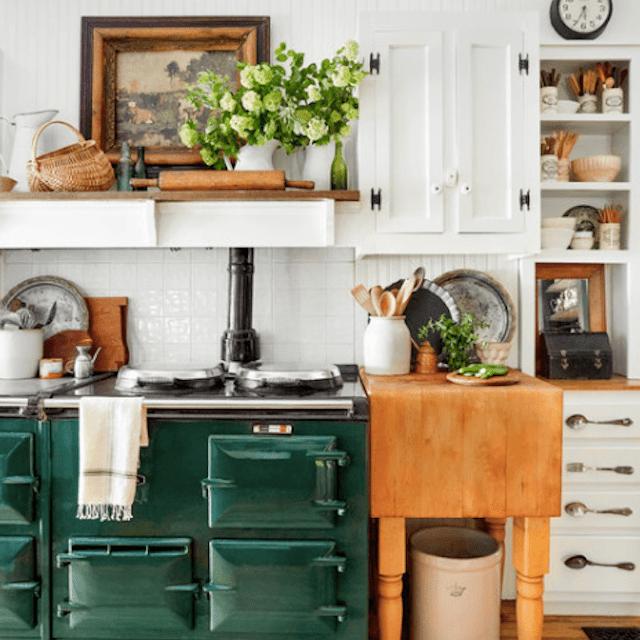 Kitchen with butcher block prep space