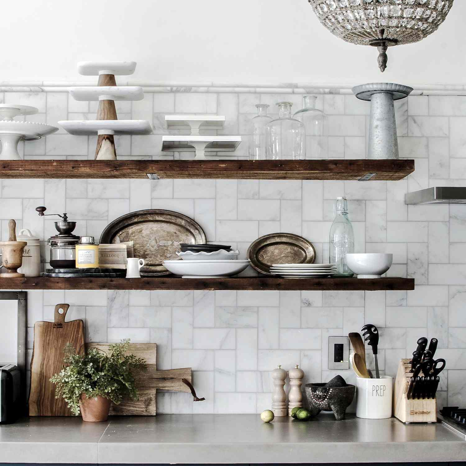 A kitchen with a chandelier in it
