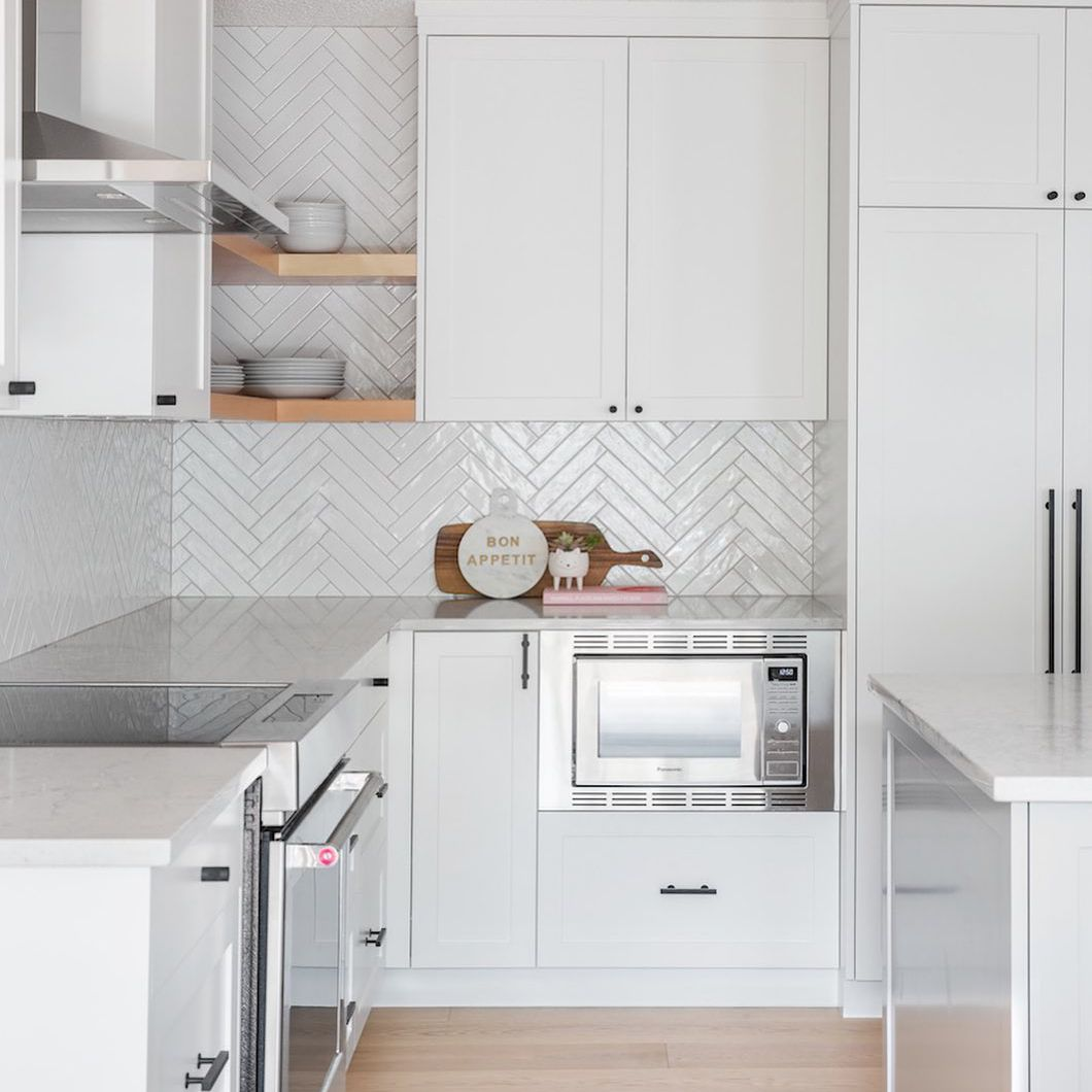 White and stainless steel appliances