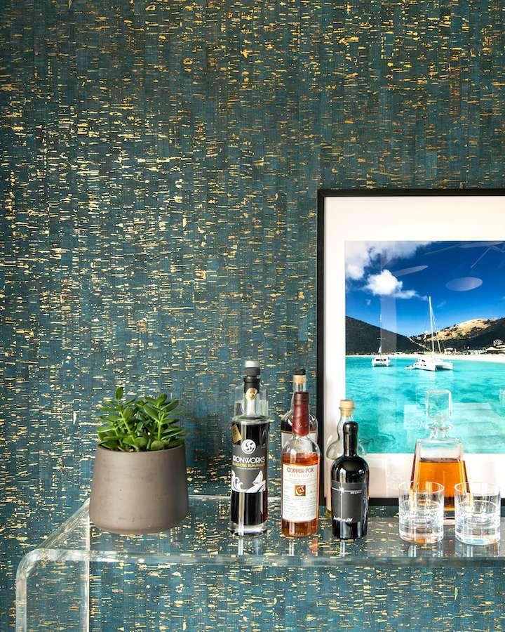 Bar area on clear acrylic table.
