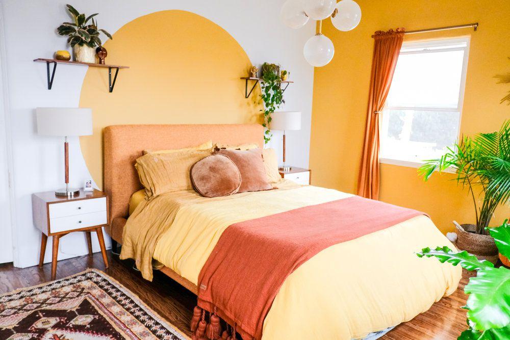 Bright yellow bedroom.