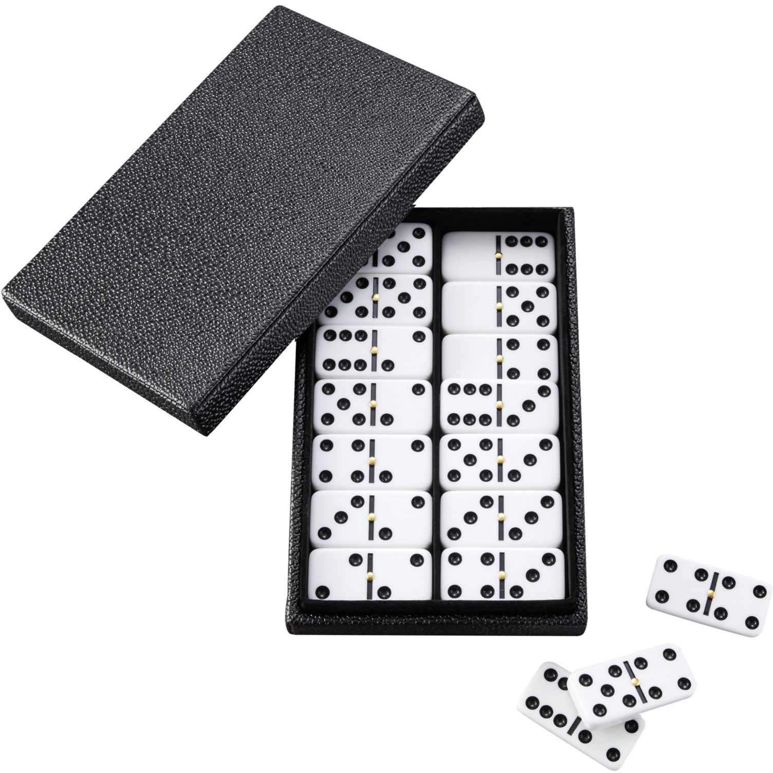 A set of dominoes in a faux-shagreen box.