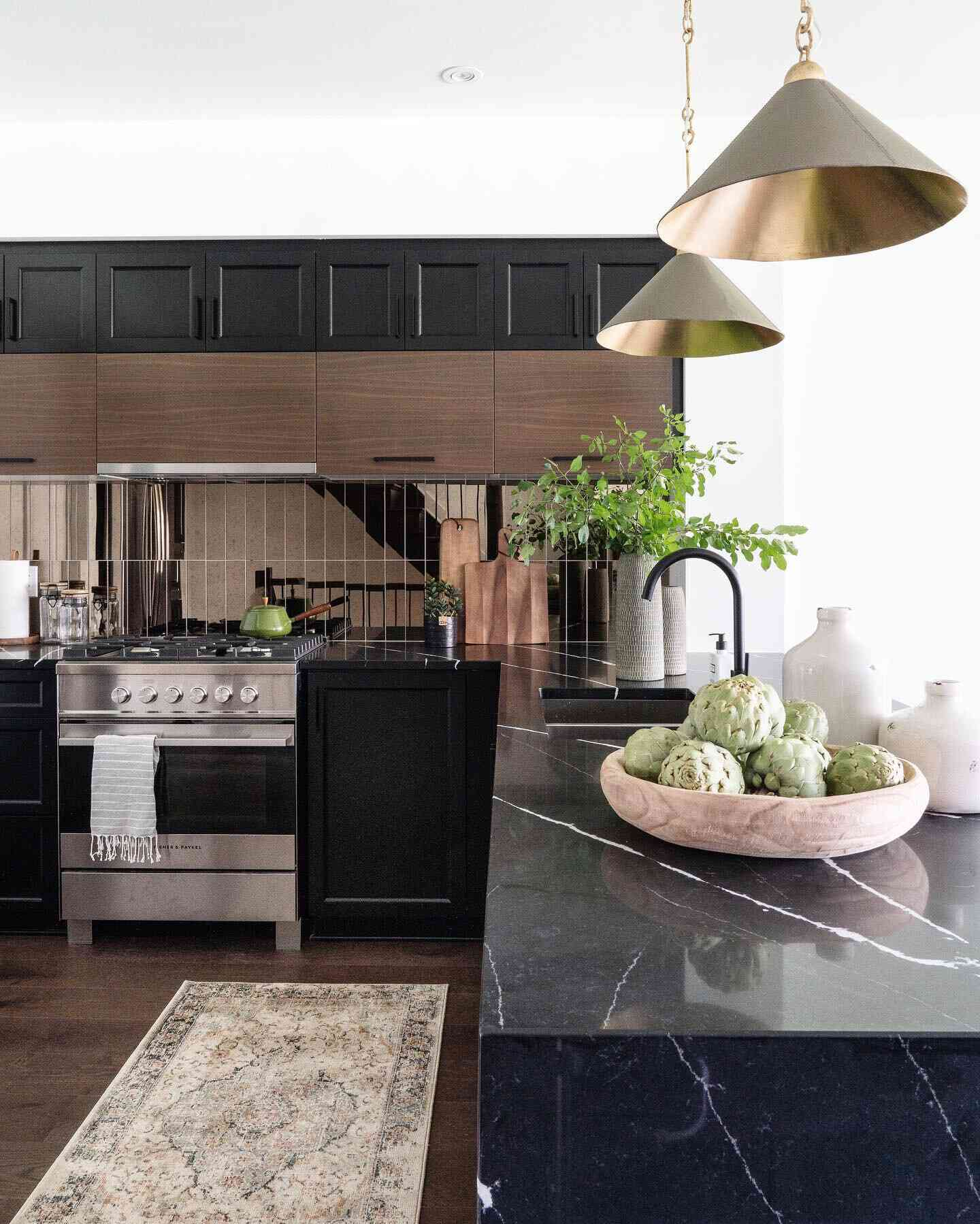 best kitchen ideas - black kitchen with wood accents