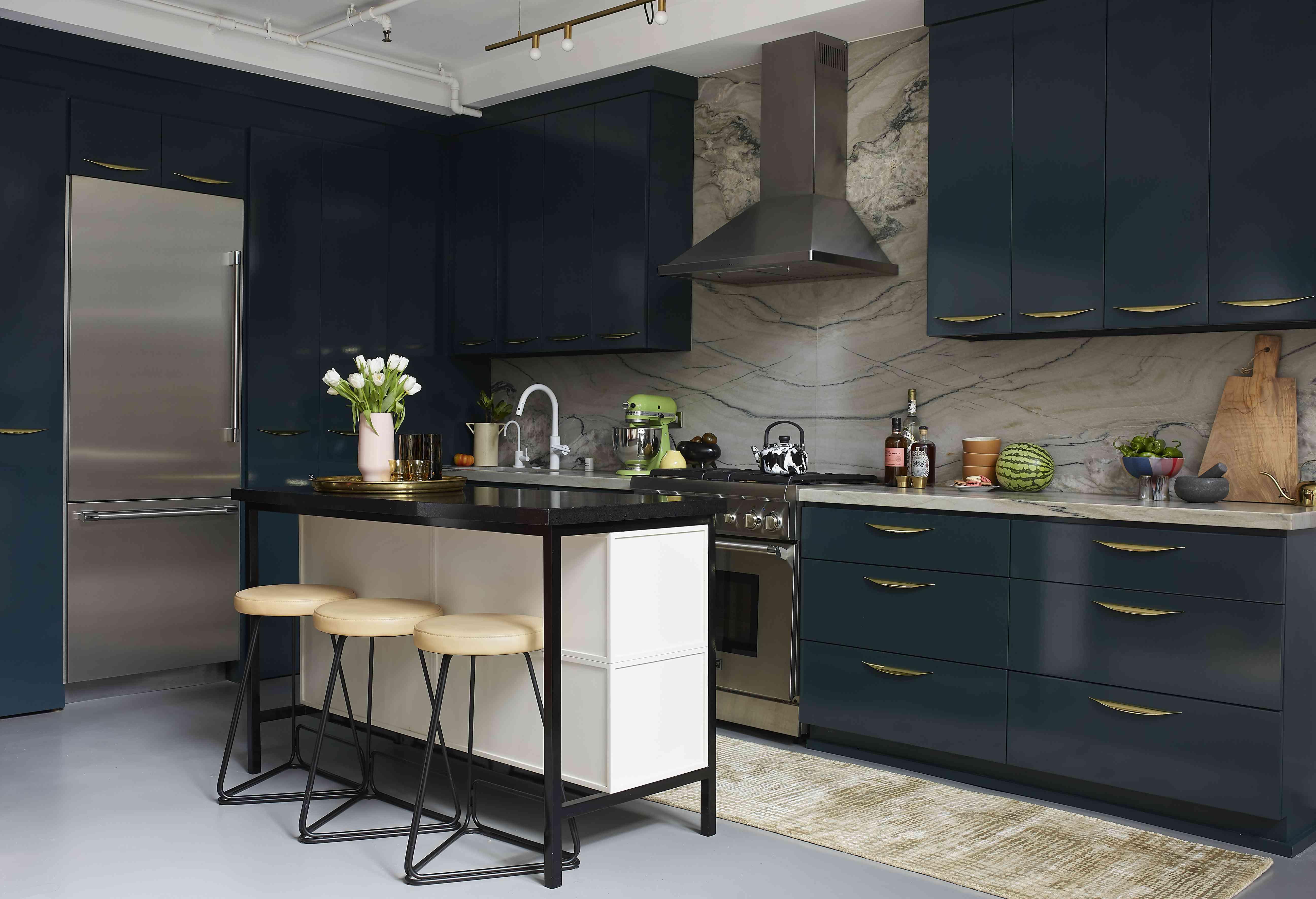 Modern kitchen with blue cabnet