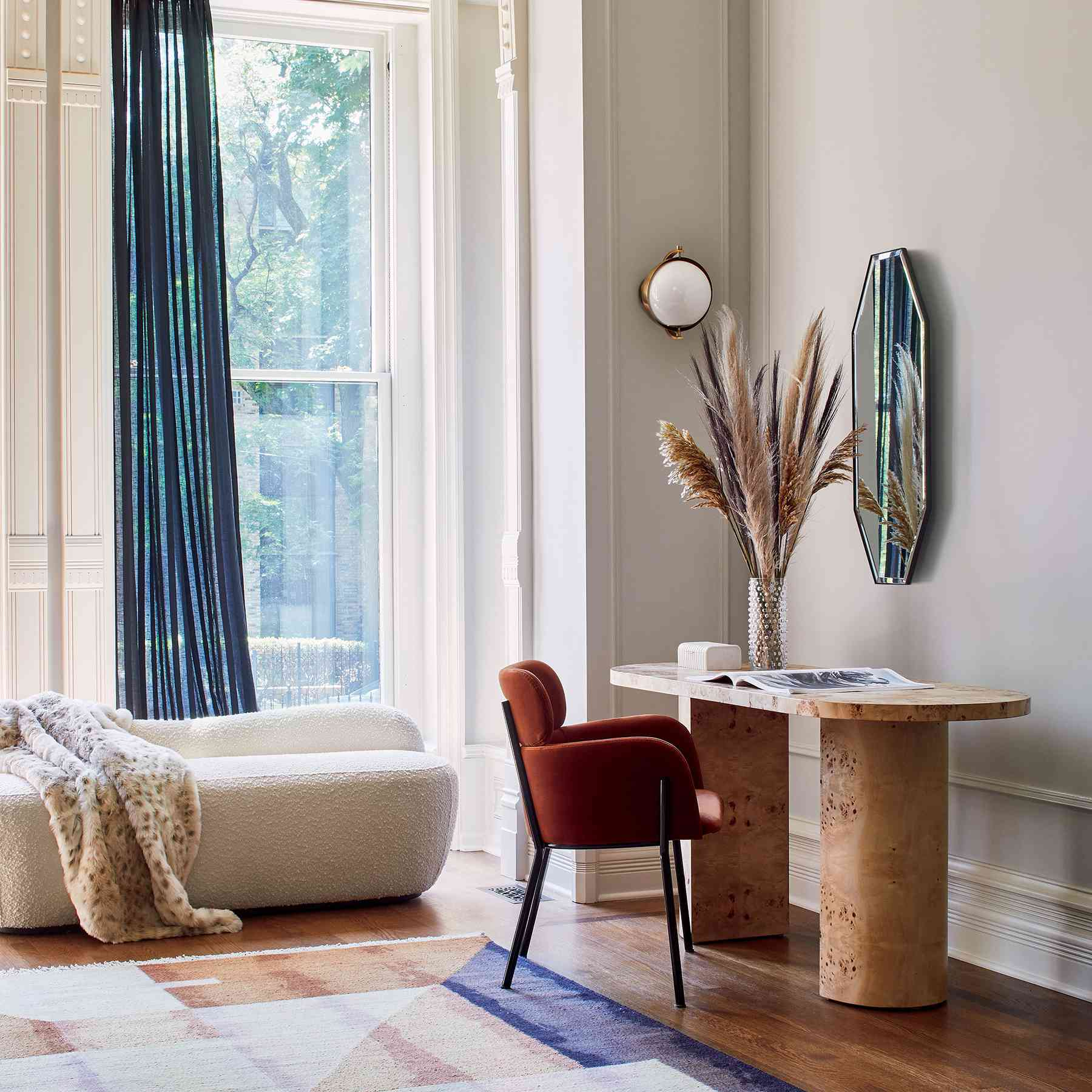 CB2 2021 Design Trends - desk with clay chair, white couch
