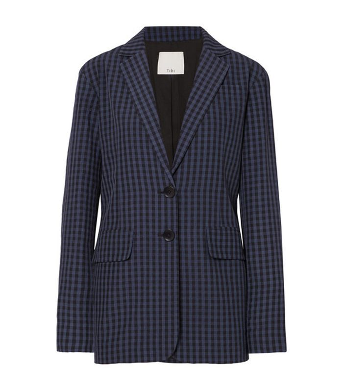 Oversized Gingham Seersucker Blazer