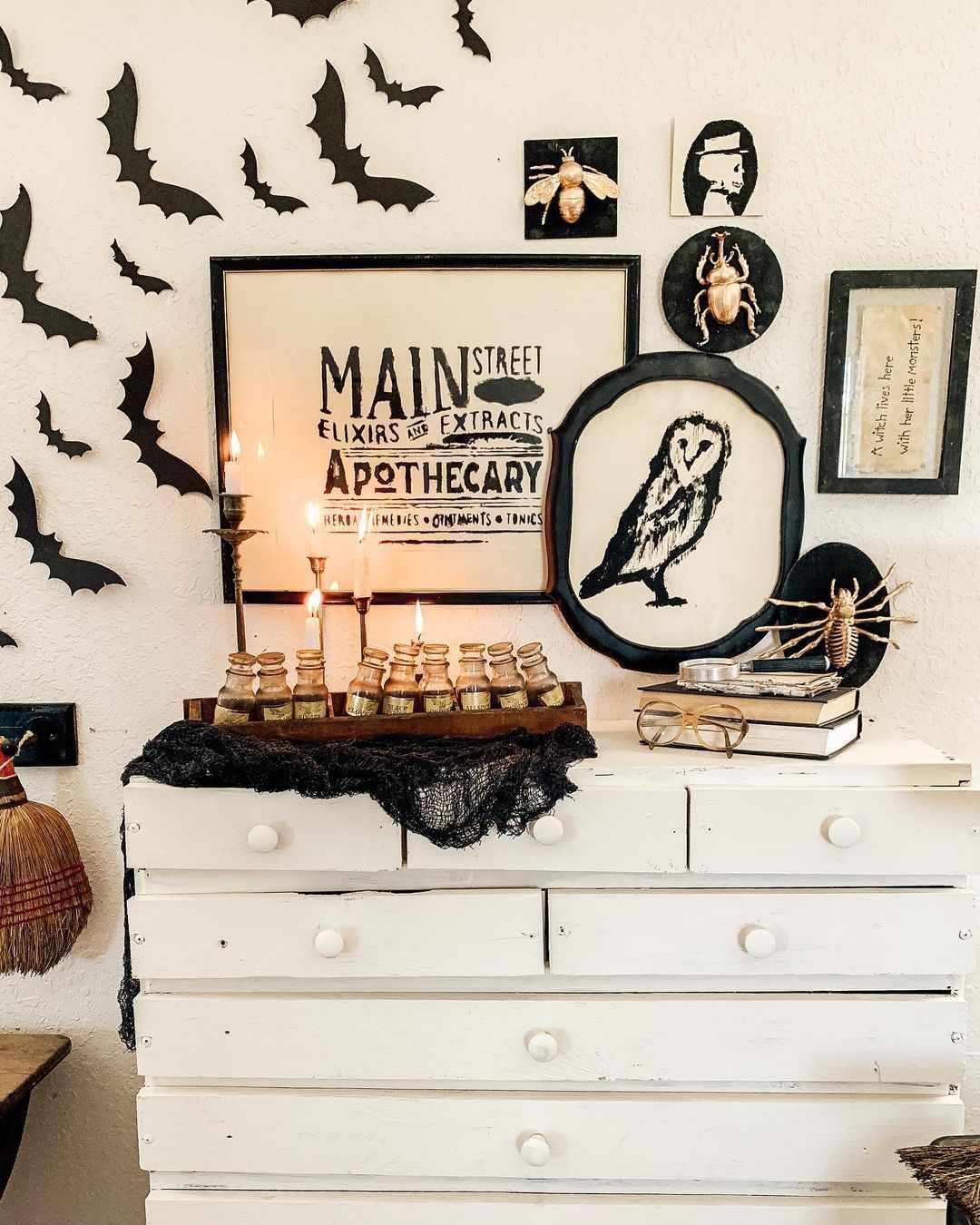 Dresser with halloween decor