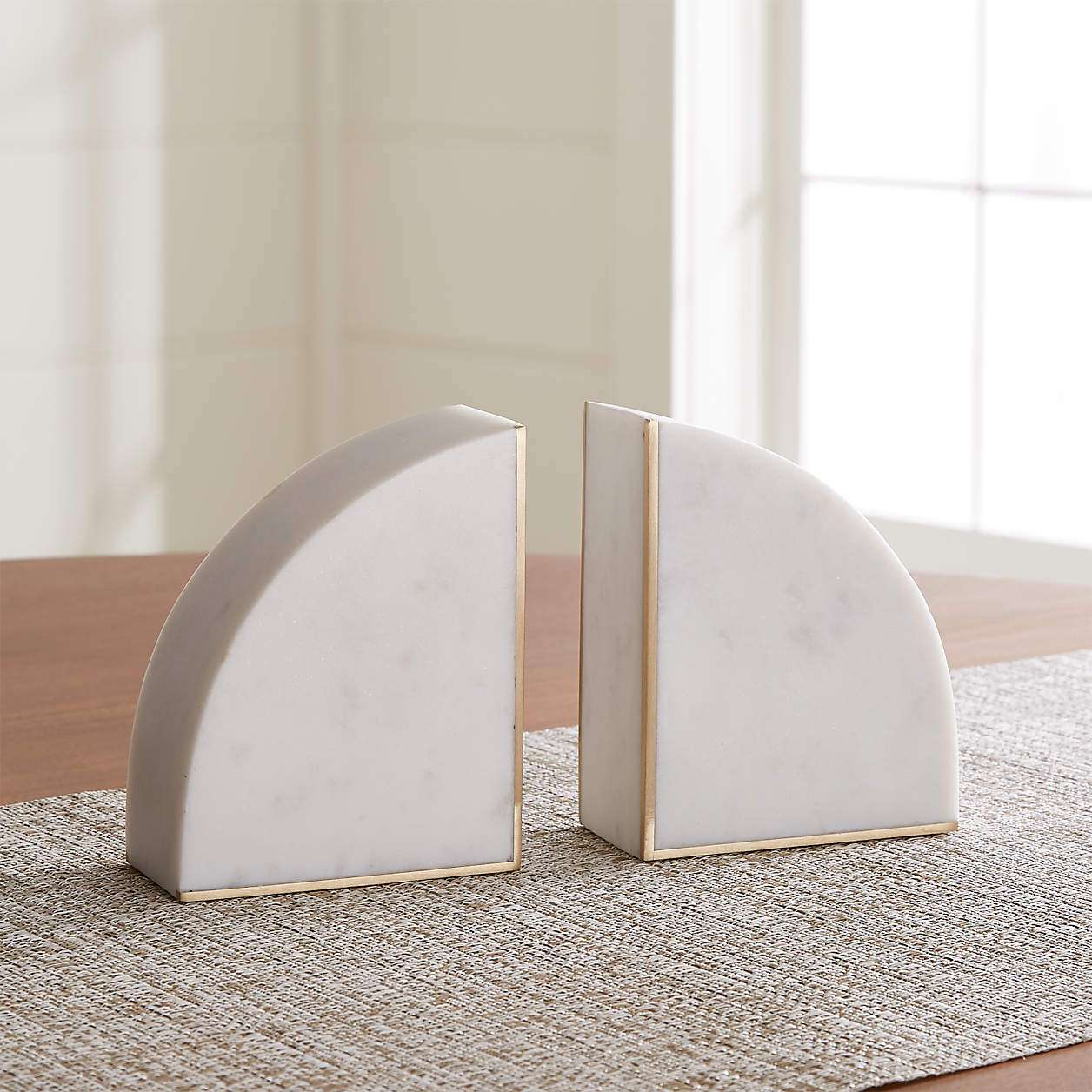 White marble book ends