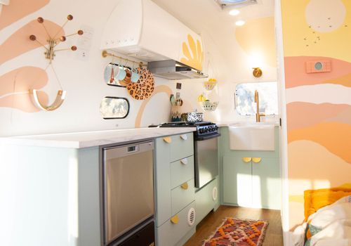 Bright and playful Airstream interior.