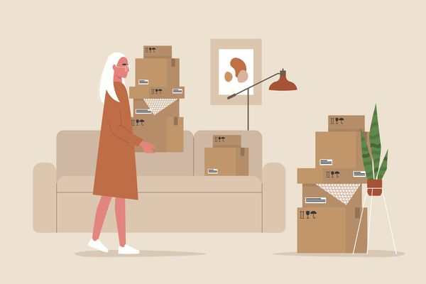 cartoon of a woman packing up her apartment