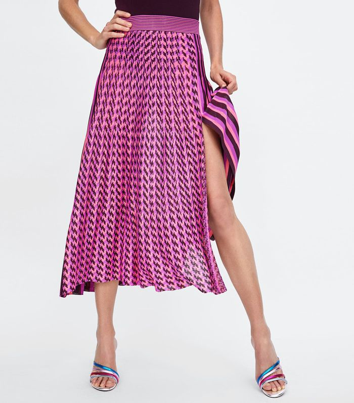 Zara Striped Midi Skirt