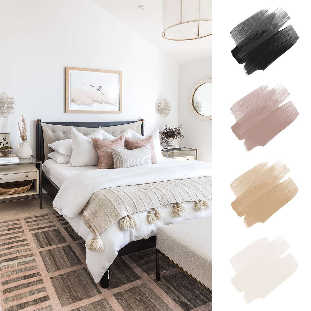 neutral color palette - pink, tan and taupe cozy bedroom