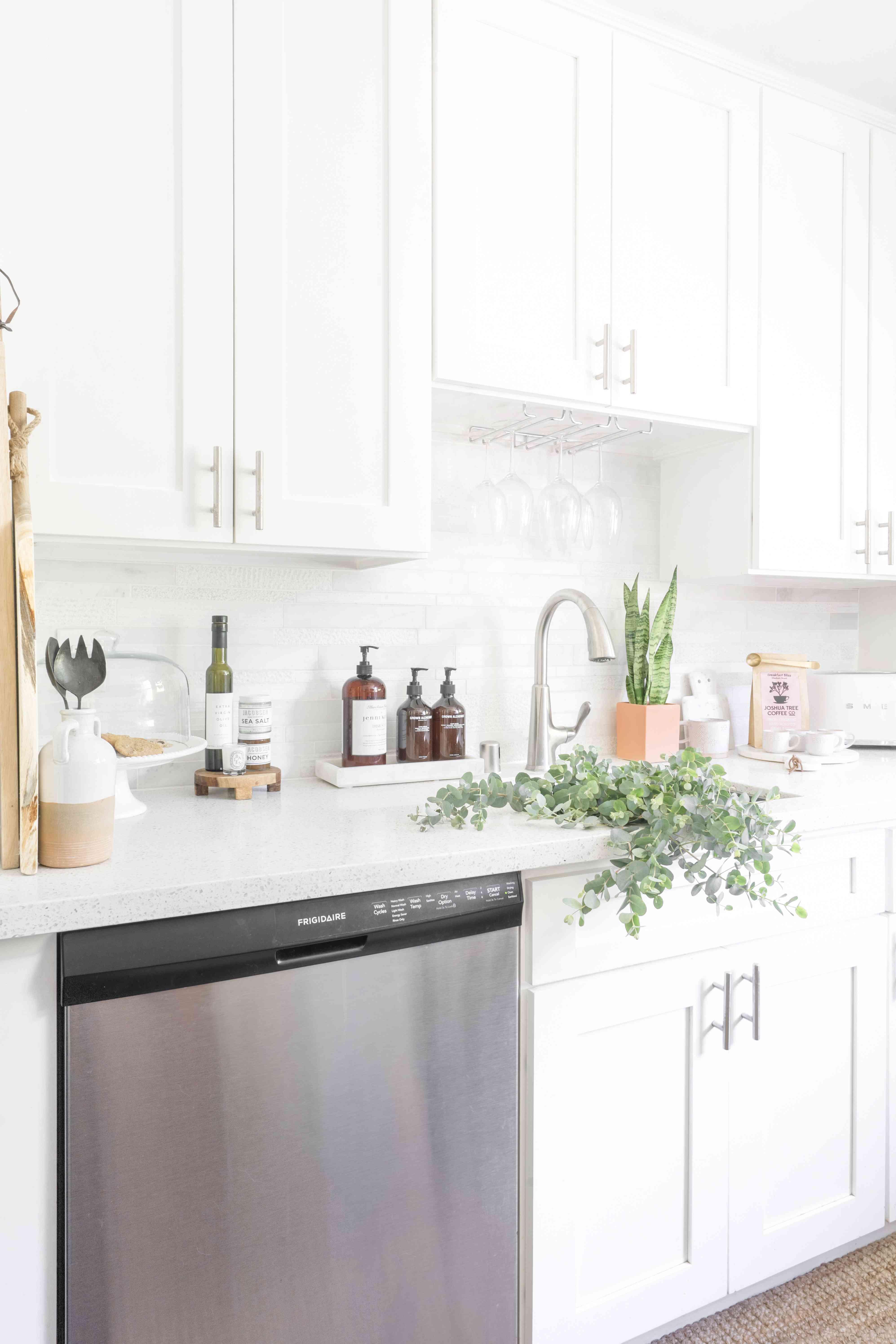 alisha agrellas home tour - kitchen with plants
