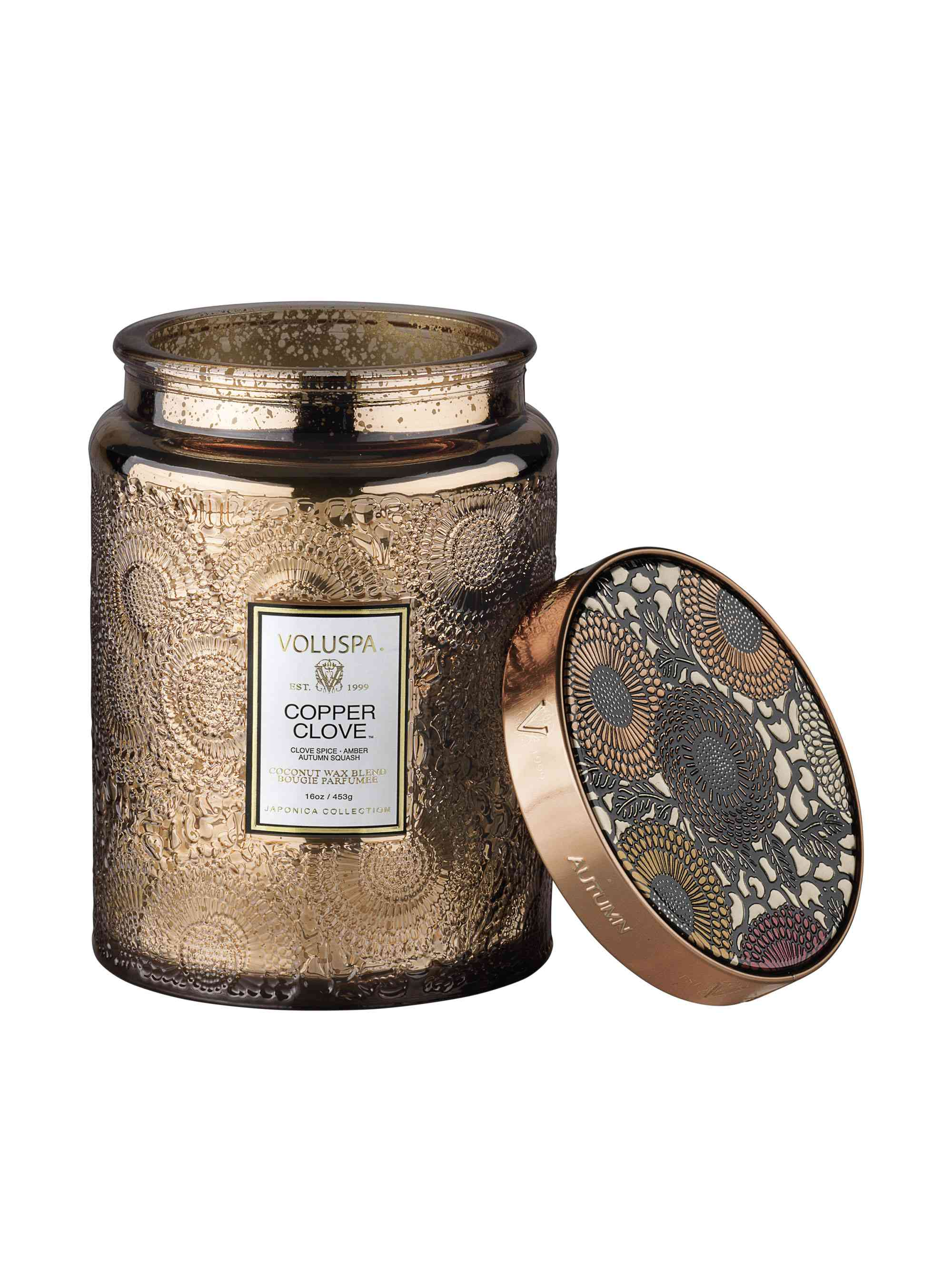 voluspa copper clove glass candle