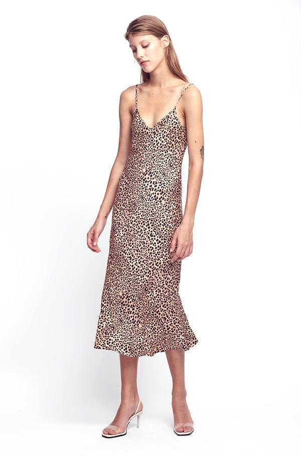 Silk Laundry 90s Silk Slip Dress in Leopard