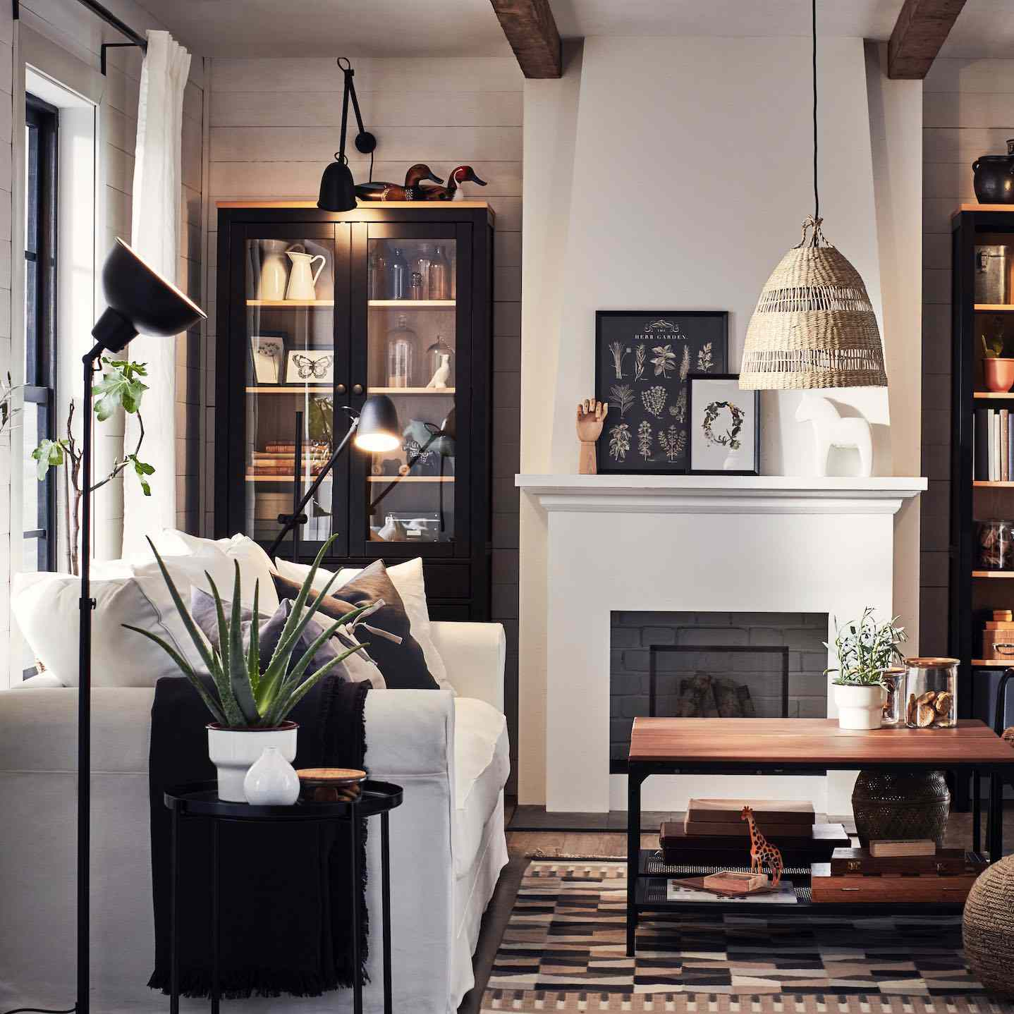 IKEA living room with plants.