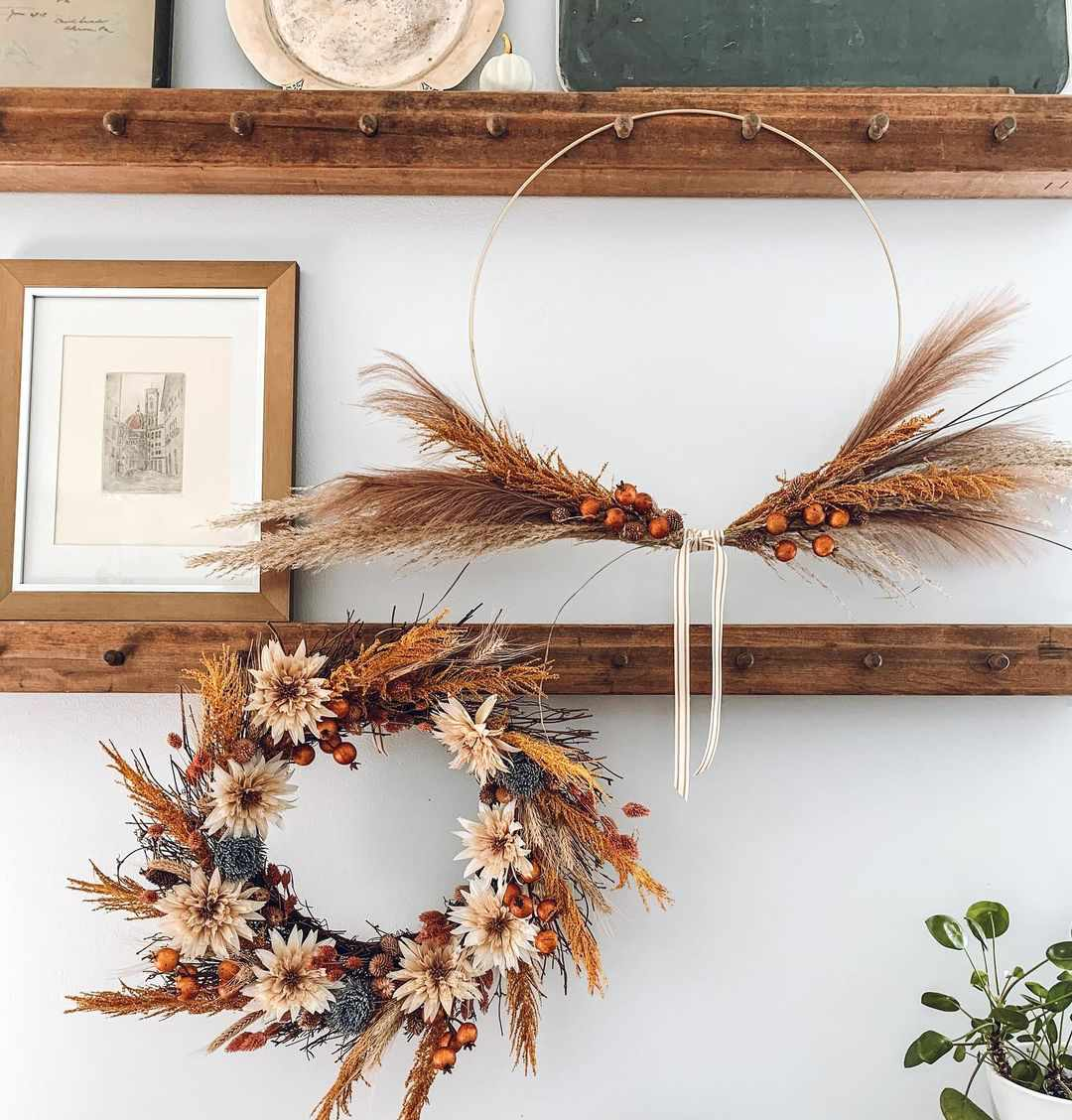 pair of fall wreaths