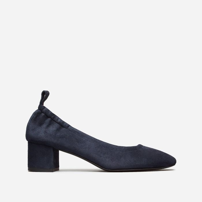 Women's Leather Block Heel Pump by Everlane in Navy Suede, Size 11