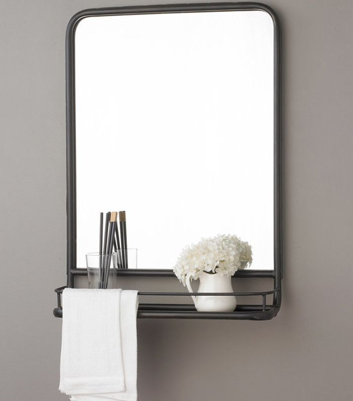 Shades of Light Metal Mirror With Shelf