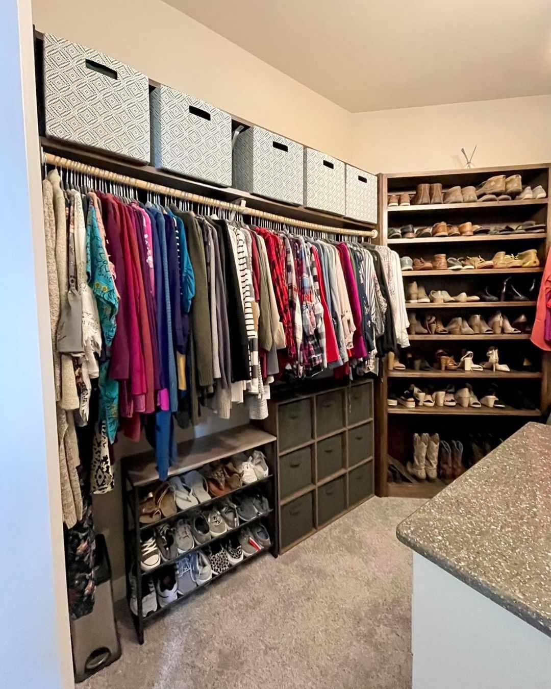 Closet with bins