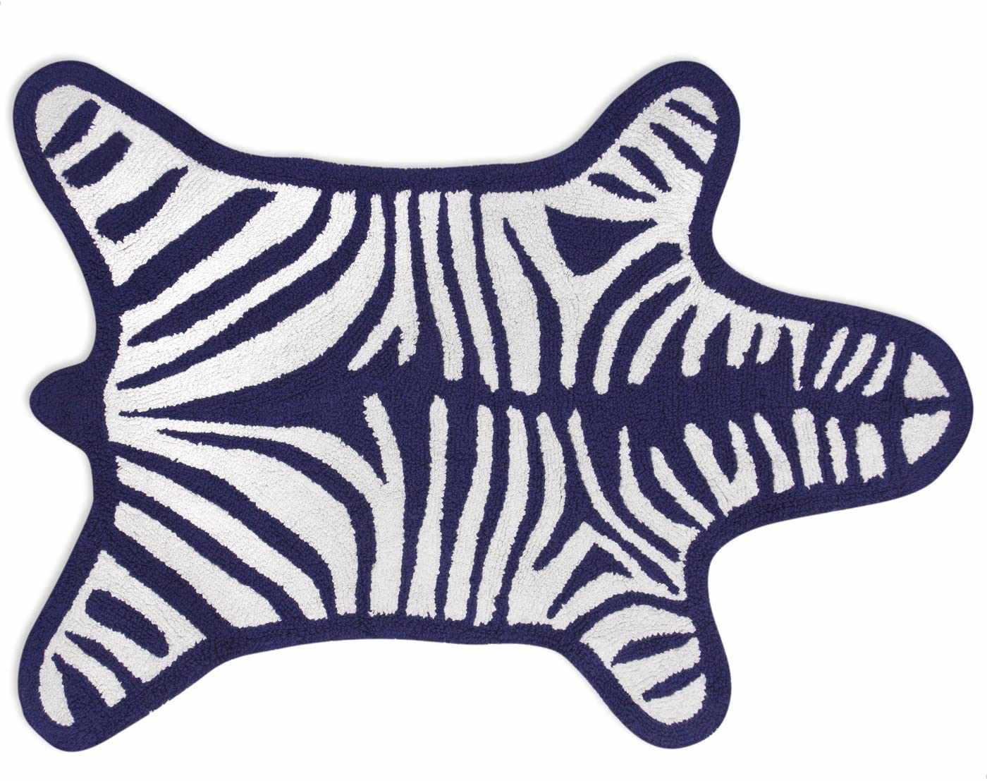 Jonathan Adler Reversible Zebra Bathmat, Navy