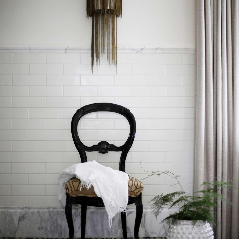 Bathroom vignette with vintage styling