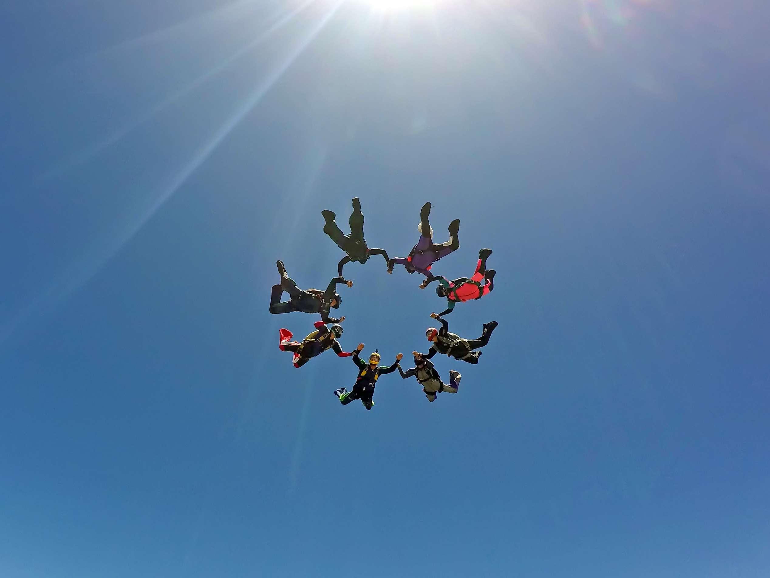 friends skydiving