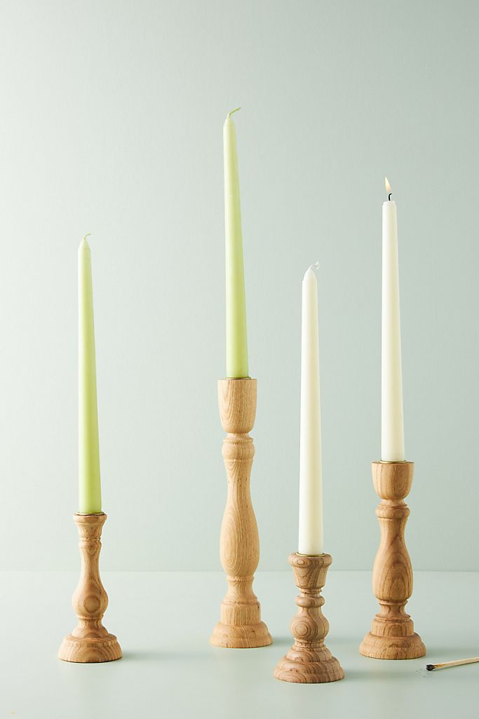 Anthropologie Sawyer Wood Taper Candle Holder