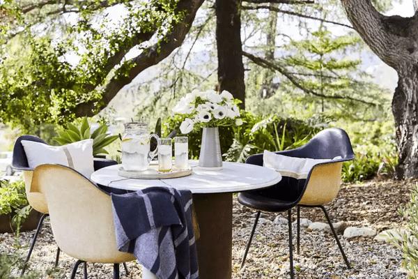Table setting beneath a tree
