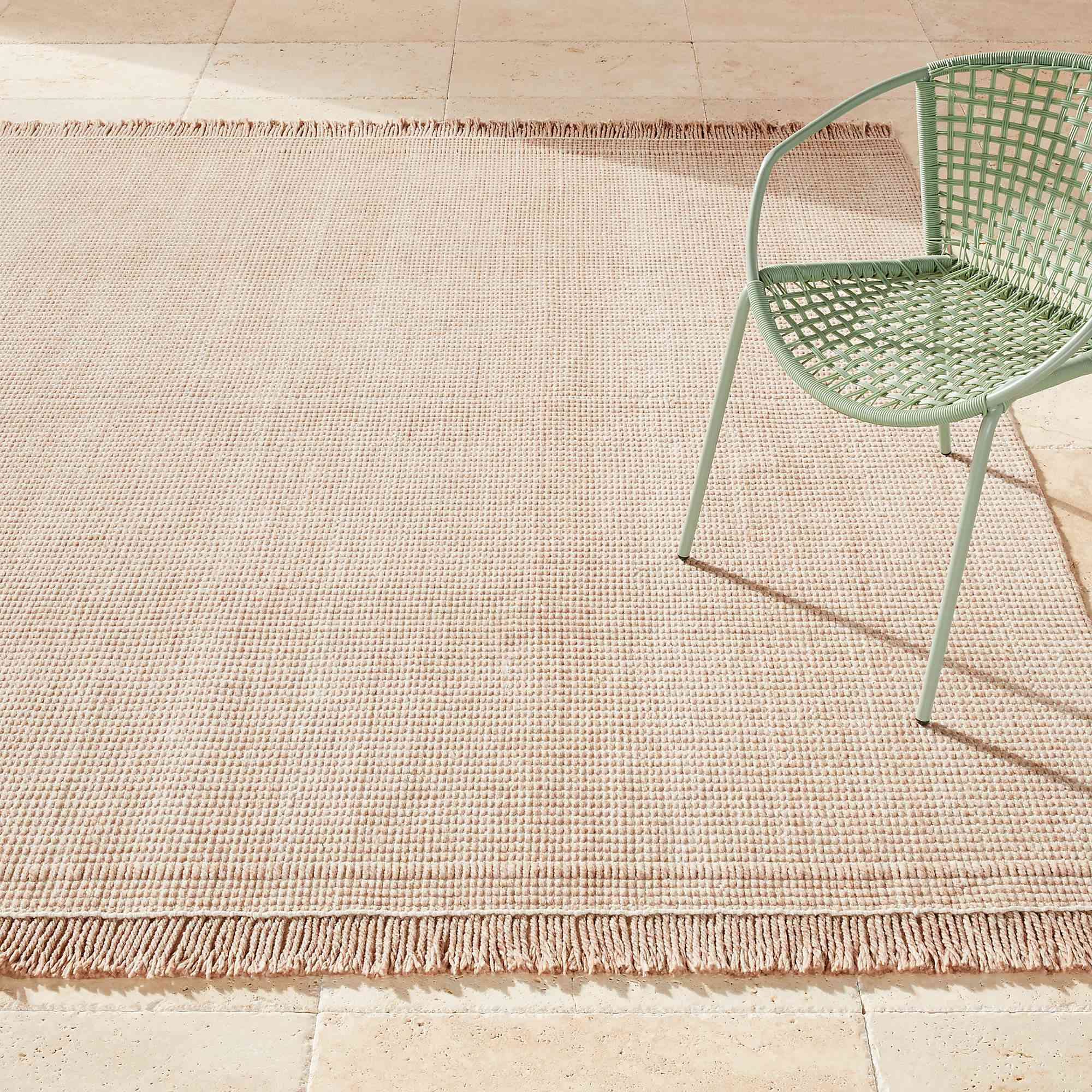 CB2 Theo Natural and White Outdoor Rug