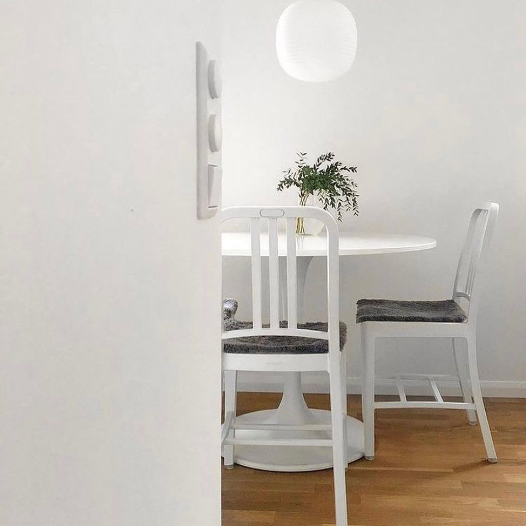 Navy chairs in dining room