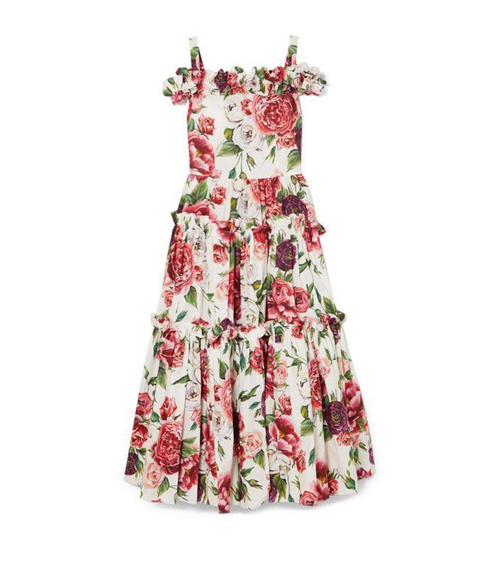 Cold-shoulder Floral-print Cotton Maxi Dress