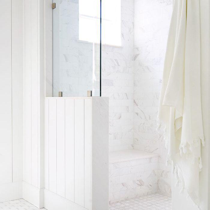 Marble-tiled shower