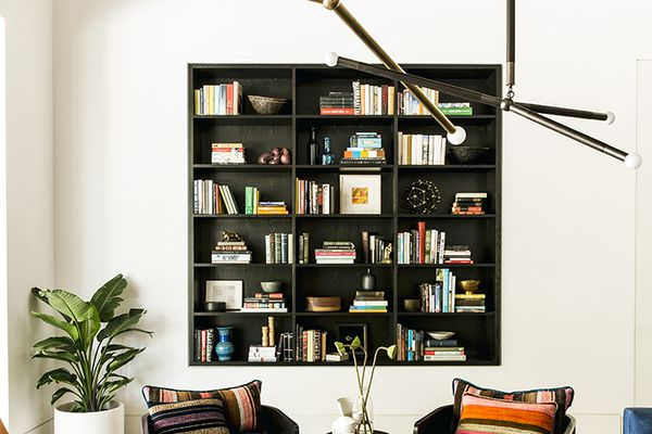 living room with built in bookcase