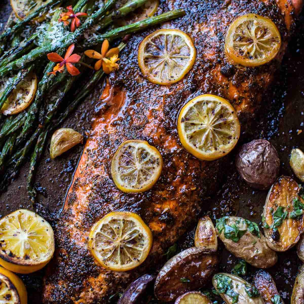 one pan lemon roasted salmon and asparagus— Easy Asparagus Recipes
